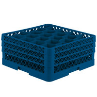 Vollrath TR11GGA Traex® Rack Max Full-Size Royal Blue 20-Compartment 7 7/8 inch Glass Rack with Open Rack Extender On Top