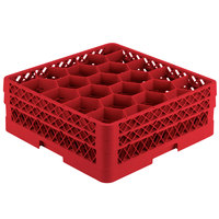 Vollrath TR11GA Traex Rack Max Full-Size Red 20-Compartment 6 3/8 inch Glass Rack with Open Rack Extender On Top