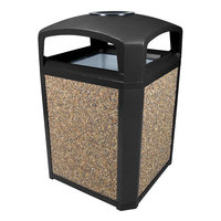 Rubbermaid 397001 Landmark Series Classic Container Black Square Polycarbonate Dome Top Frame with Ashtray and FG395800 Rigid Plastic Liner 35 Gallon (FG397001BLA)