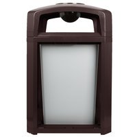 Rubbermaid FG397001SBLE Landmark Series Classic Container Sable Square Polycarbonate Dome Top Frame with Ashtray and FG395800 Rigid Plastic Liner 35 Gallon