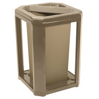 Rubbermaid FG396600DWOOD Landmark Series Classic Container Driftwood Square Polycarbonate Ash/Trash Frame with FG356900 Rigid Plastic Liner 20 Gallon