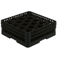 Vollrath TR11GA Traex® Rack Max Full-Size Black 20-Compartment 6 3/8 inch Glass Rack with Open Rack Extender On Top