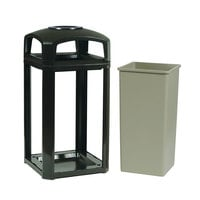 Rubbermaid 397501 Landmark Series Classic Container Black Square Polycarbonate Dome Top Frame with Ashtray and FG395900 Rigid Plastic Liner 50 Gallon (FG397501BLA)
