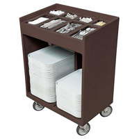 Cambro TC1418131 Dark Brown Tray and Silverware Cart with Protective Vinyl Cover