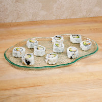 10 Strawberry Street HD2512OC Izabel Lam Morning Tide 8 1/2 inch x 12 inch Ocean Clear Glass Oyster Platter - 12/Case