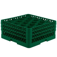 Vollrath TR11GGA Traex® Rack Max Full-Size Green 20-Compartment 7 7/8 inch Glass Rack with Open Rack Extender On Top