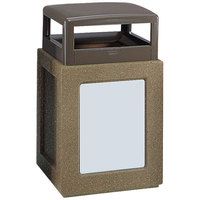 Rubbermaid FGKSR368000PL Keystone Series Hinged-Top Architectural Bronze with Sierra Brown Concrete Steel Square Waste Receptacle with Rigid Plastic Liner 29 Gallon