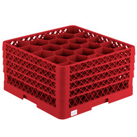 Vollrath TR11GGGA Traex® Rack Max Full-Size Red 20-Compartment 9 7/16 inch Glass Rack with Open Rack Extender On Top