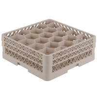 Vollrath TR11GA Traex® Rack Max Full-Size Beige 20-Compartment 6 3/8 inch Glass Rack with Open Rack Extender On Top