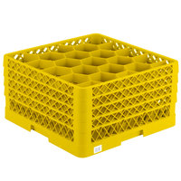 Vollrath TR11GGGG Traex Rack Max Full-Size Yellow 20-Compartment 9 7/16 inch Glass Rack