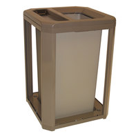 Rubbermaid FG397100DWOOD Landmark Series Classic Container Driftwood Square Polycarbonate Ash/Trash Frame with FG395800 Rigid Plastic Liner 35 Gallon