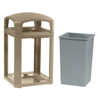 Rubbermaid FG397000DWOOD Landmark Series Classic Container Driftwood Square Polycarbonate Dome Top Frame with FG395800 Rigid Plastic Liner 35 Gallon