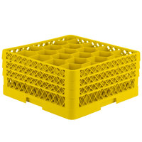 Vollrath TR11GGA Traex® Rack Max Full-Size Yellow 20-Compartment 7 7/8 inch Glass Rack with Open Rack Extender On Top