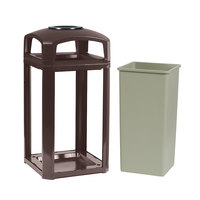 Rubbermaid FG397501SBLE Landmark Series Classic Container Sable Square Polycarbonate Dome Top Frame with Ashtray and FG395900 Rigid Plastic Liner 50 Gallon