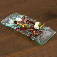 10 Strawberry Street HD2957OC Izabel Lam Morning Tide 6 1/2 inch x 14 inch Ocean Clear Thick Fused Glass Platter - 12/Case