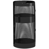 Rubbermaid FGH9NBK Towne Series Black Perforated Steel Pole/Wall Mount with Drain Holes 22 Gallon