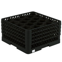 Vollrath TR11GGGA Traex® Rack Max Full-Size Black 20-Compartment 9 7/16 inch Glass Rack with Open Rack Extender On Top
