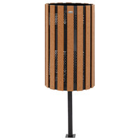 Rubbermaid FGH12IGC Towne Series Cedar Post-Mount with Drain Holes and Ground Post 34 Gallon