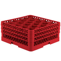 Vollrath TR11GGA Traex® Rack Max Full-Size Red 20-Compartment 7 7/8 inch Glass Rack with Open Rack Extender On Top