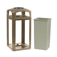 Rubbermaid FG397501DWOOD Landmark Series Classic Container Driftwood Square Polycarbonate Dome Top Frame with Ashtray and FG395900 Rigid Plastic Liner 50 Gallon