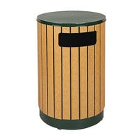 Rubbermaid FGR5650PLEGN Regent 50 Series Flat-Top Empire Green Steel and Polyethylene Round Waste Receptacle with Rigid Plastic Liner 40 Gallon