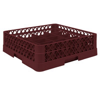 Vollrath TR6A Traex® Full-Size Burgundy 25-Compartment 4 13/16 inch Glass Rack with Open Rack Extender On Top