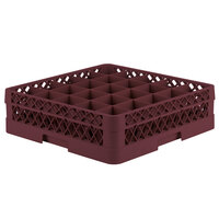 Vollrath TR6A Traex Full-Size Burgundy 25-Compartment 4 13/16 inch Glass Rack with Open Rack Extender On Top