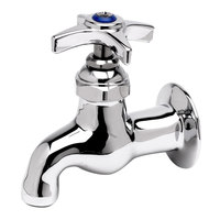 T&S B-0700-LT-CR-K Wall Mount Sill Faucet with 3 11/16 inch Spout, 5.54 GPM Stream Regulator, and 4-Arm Handle