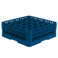 Vollrath TR6BB Traex Full-Size Royal Blue 25-Compartment 6 3/8 inch Glass Rack