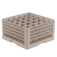Vollrath TR6BBBB Traex Full-Size Beige 25-Compartment 9 7/16 inch Glass Rack