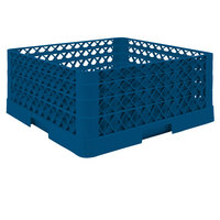 Vollrath TR6BBA Traex® Full-Size Royal Blue 25-Compartment 7 7/8 inch Glass Rack with Open Rack Extender On Top