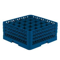 Vollrath TR6BBA Traex Full-Size Royal Blue 25-Compartment 7 7/8 inch Glass Rack with Open Rack Extender On Top