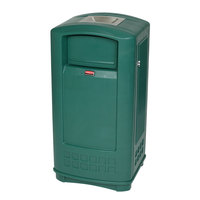 Rubbermaid FG9P9100DGRN Plaza Dark Green Junior Container with Side Opening Door and Ashtray Top 35 Gallon