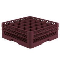 Vollrath TR6BB Traex® Full-Size Burgundy 25-Compartment 6 3/8 inch Glass Rack