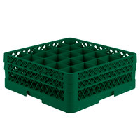 Vollrath TR6BB Traex® Full-Size Green 25-Compartment 6 3/8 inch Glass Rack