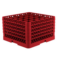 Vollrath TR6BBBBB Traex® Full-Size Red 25-Compartment 11 inch Glass Rack