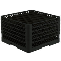 Vollrath TR12HHHHA Traex® Rack Max Full-Size Black 30-Compartment 11 7/8 inch Glass Rack with Open Rack Extender On Top