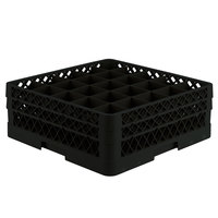 Vollrath TR6BB Traex® Full-Size Black 25-Compartment 6 3/8 inch Glass Rack