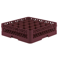 Vollrath TR6B Traex® Full-Size Burgundy 25-Compartment 4 13/16 inch Glass Rack