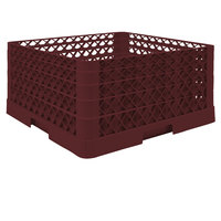Vollrath TR6BBBA Traex® Full-Size Burgundy 25-Compartment 9 7/16 inch Glass Rack with Open Rack Extender On Top
