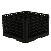 Vollrath TR6BBBBA Traex® Full-Size Black 25-Compartment 11 inch Glass Rack with Open Rack Extender On Top