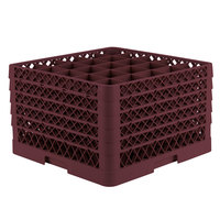 Vollrath TR6BBBBA Traex® Full-Size Burgundy 25-Compartment 11 inch Glass Rack with Open Rack Extender On Top