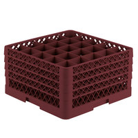 Vollrath TR6BBBB Traex® Full-Size Burgundy 25-Compartment 9 7/16 inch Glass Rack
