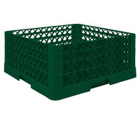 Vollrath TR6BBA Traex® Full-Size Green 25-Compartment 7 7/8 inch Glass Rack with Open Rack Extender On Top