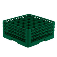 Vollrath TR6BBB Traex® Full-Size Green 25-Compartment 7 7/8 inch Glass Rack
