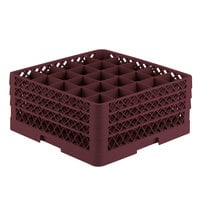 Vollrath TR6BBB Traex® Full-Size Burgundy 25-Compartment 7 7/8 inch Glass Rack