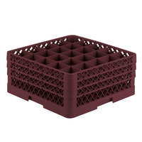 Vollrath TR6BBB Traex Full-Size Burgundy 25-Compartment 7 7/8 inch Glass Rack