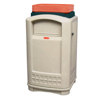 Rubbermaid FG396300BEIG Plaza Beige Container with Side Opening Door and Tray Top 50 Gallon