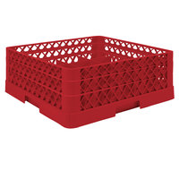 Vollrath TR6BA Traex® Full-Size Red 25-Compartment 6 3/8 inch Glass Rack with Open Rack Extender On Top