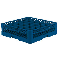 Vollrath TR6A Traex Full-Size Royal Blue 25-Compartment 4 13/16 inch Glass Rack with Open Rack Extender On Top